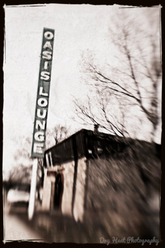 Oasis Lounge in Ashfork, Arizona. Route 66. Lensbaby
