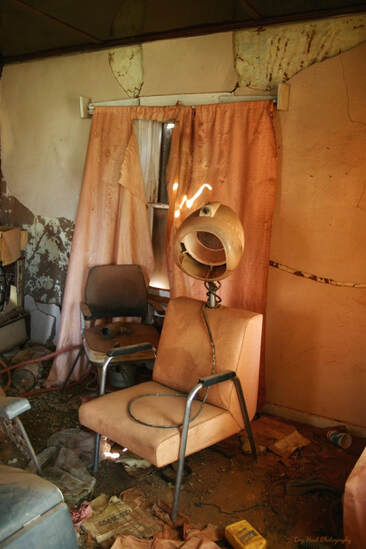 Abandoned hair salon in Cuervo, New Mexico