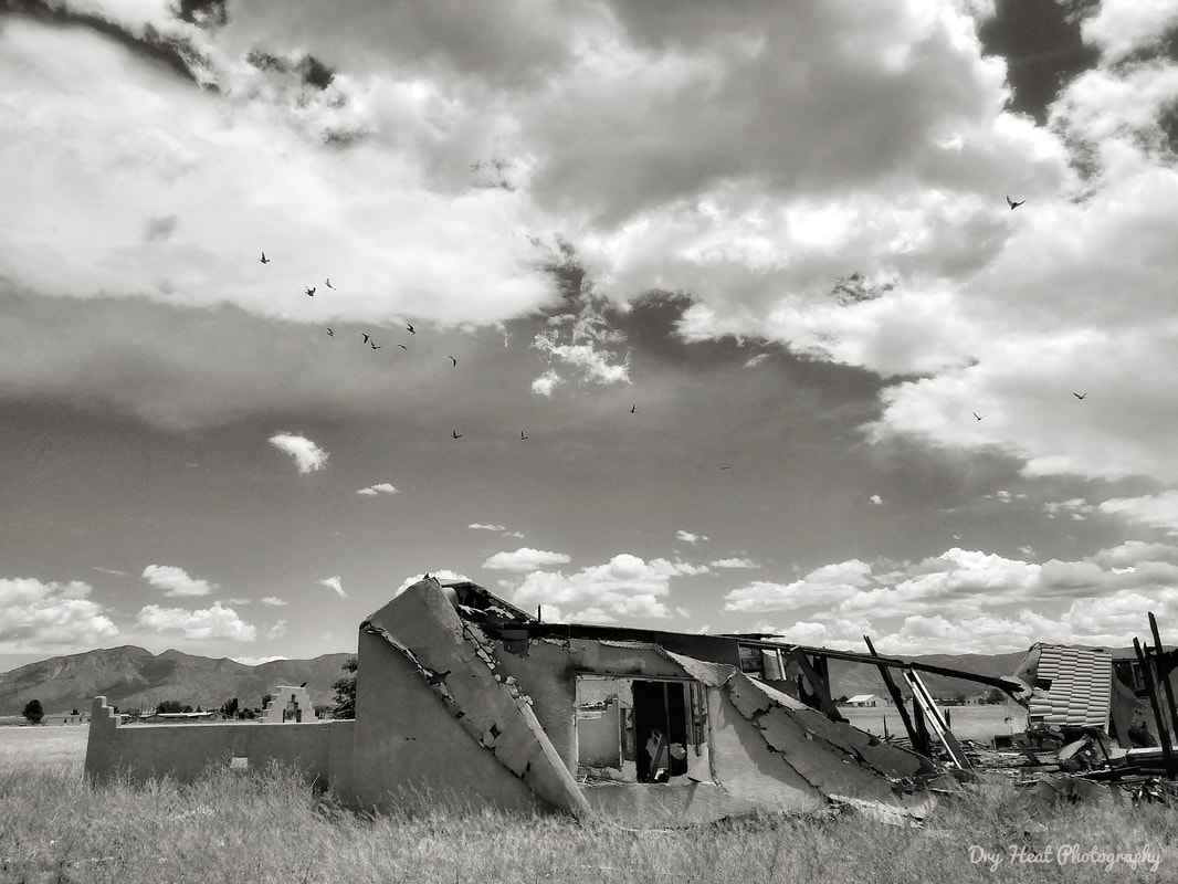 abandoned and burned down house in Meadow Lake, NEW Mexico. Dry Heat Photography