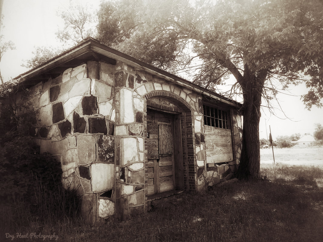 Abandoned outbuilding at the Shaffer Hotel in Mountainair, New Mexico. June 2019
