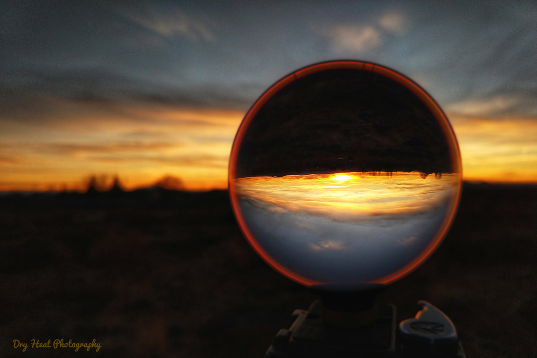 Lensball sunset in Meadow Lake, New Mexico.
