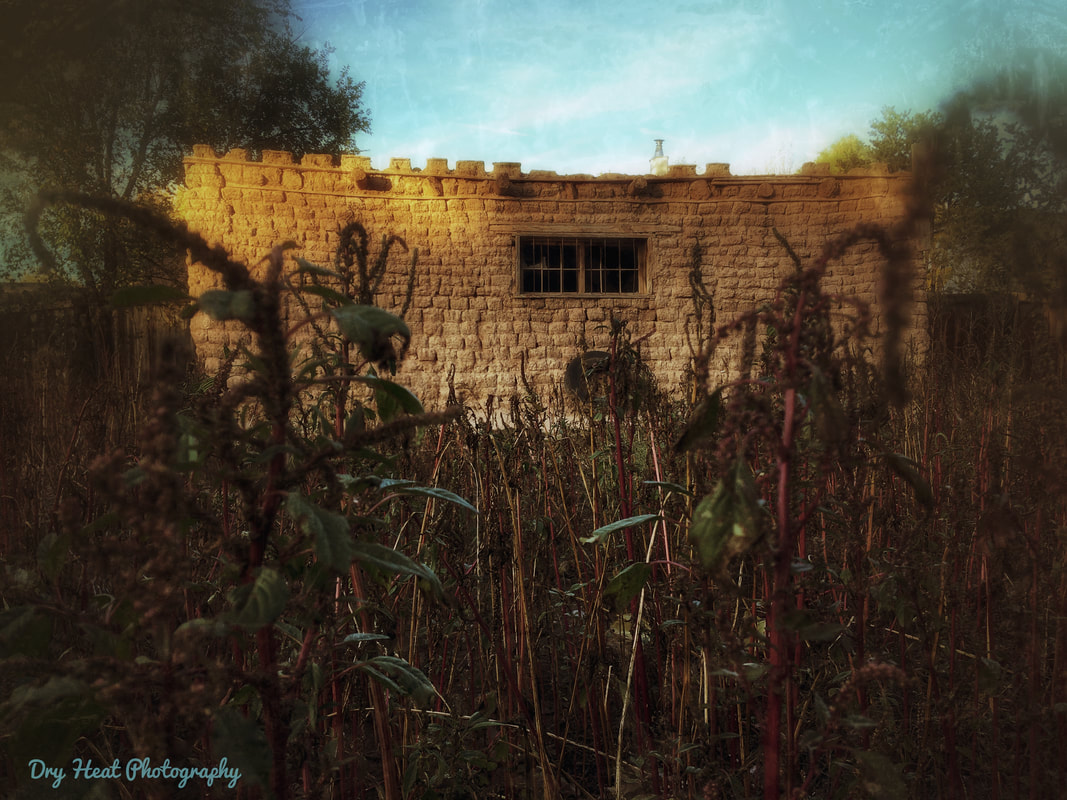 adobe garage in Corrales, New Mexico. Ghost Town. Dry Heat Photography